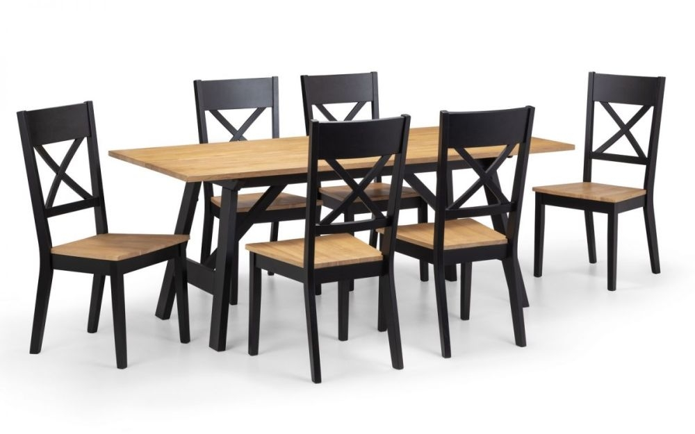 Julian bowen Hockley Oak and Black Dining Table and 6 Chairs