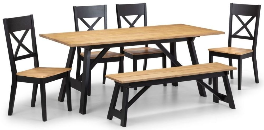 Julian bowen Hockley Oak and Black Dining Table with 4 Chairs and Bench