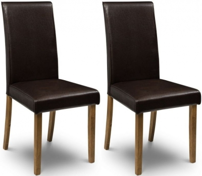 Julian Bowen Hudson Brown Faux Leather Dining Chair (Pair)
