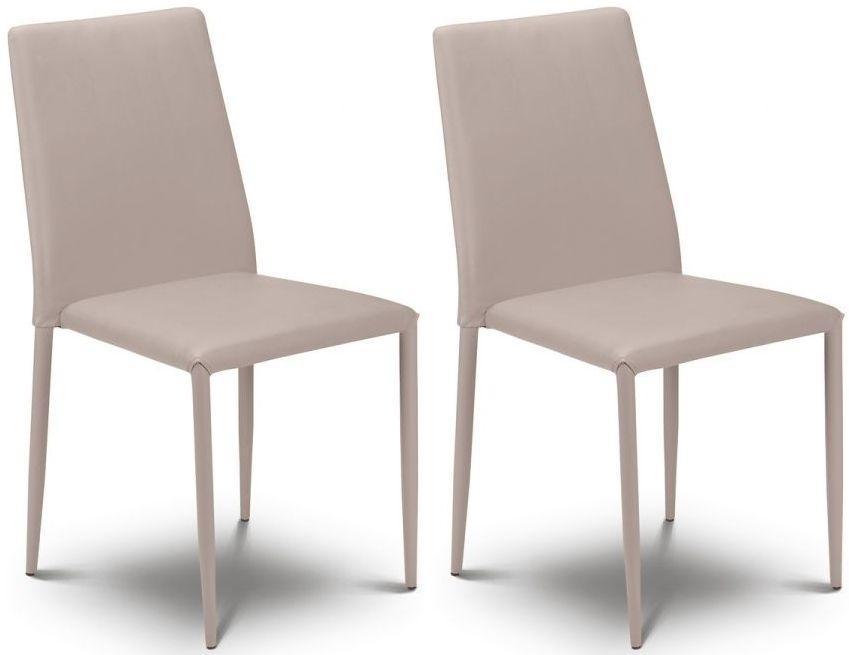 Julian Bowen Jazz Stacking Stone Faux Leather Chair (Pair)