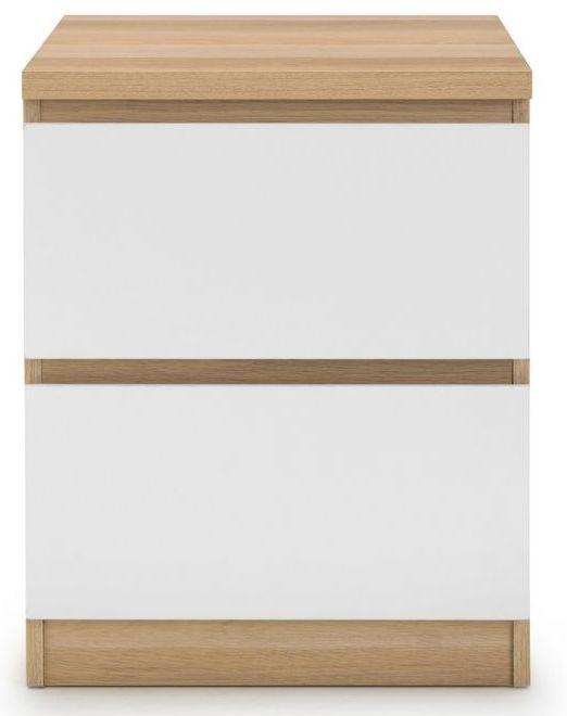 Julian Bowen Jupiter White and Oak 2 Drawer Bedside Cabinet