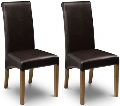Julian Bowen Cuba Brown Faux Leather Dining Chair (Pair)