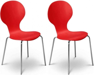 Julian Bowen Keeler Chair - Tomato (Pair)