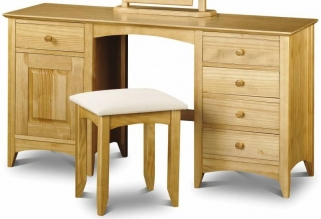 Julian Bowen Kendal Pine Dressing Table - Twin Pedestal 1 Door 5 Drawers