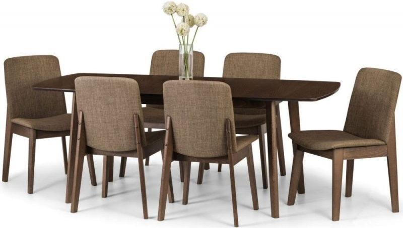 Julian Bowen Kensington Walnut Dining Set - 150cm-195cm Rectangular Extending with 6 Chairs