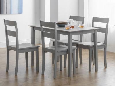 Julian Bowen Kobe Lunar Grey Compact Dining Table and 4 Chairs
