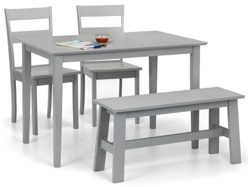 Julian Bowen Kobe Grey Dining Table with 2 Chairs and Bench