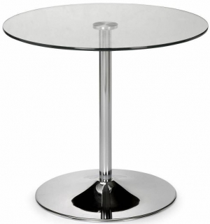 Julian Bowen Kudos Glass Top Dining Table - Pedestal 80cm