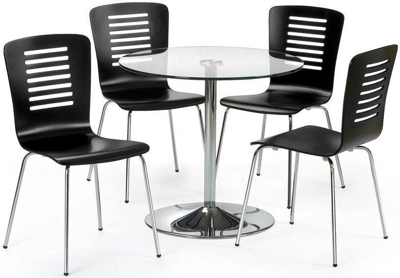 Julian Bowen Kudos Round Dining Table and 4 Chairs - Glass and Chrome