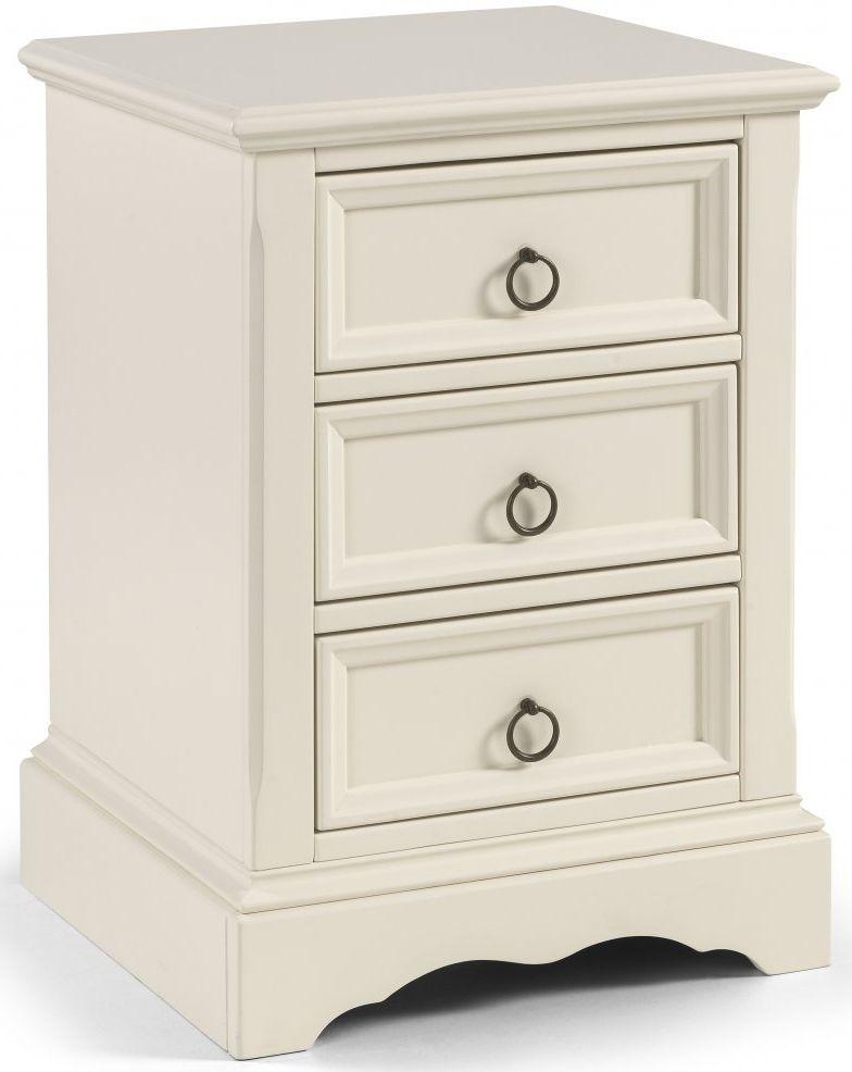Julian Bowen La Rochelle White Bedside Cabinet - 3 Drawer