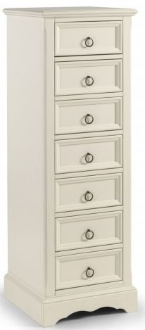 Julian Bowen La Rochelle White Tall Chest of Drawer - 7 Drawer