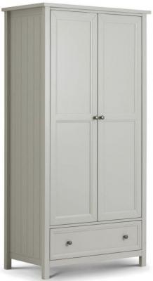 Julian Bowen Maine Dove Grey 2 Door 1 Drawer Wardrobe