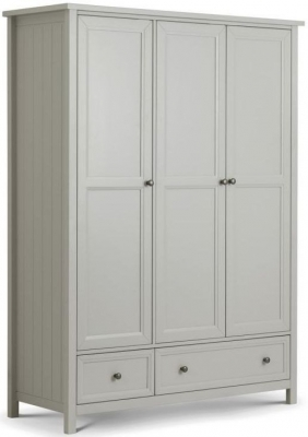 Julian Bowen Maine Dove Grey 3 Door 2 Drawer Wardrobe