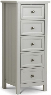 Julian Bowen Maine Dove Grey 5 Drawer Tall Chest