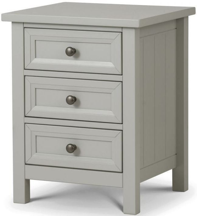 Julian Bowen Maine Dove Grey 3 Drawer Bedside Cabinet