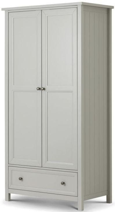 Julian Bowen Maine Dove Grey 2 Door 1 Drawer Double Wardrobe