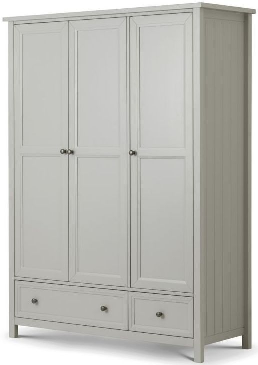 Julian Bowen Maine Dove Grey 3 Door 2 Drawer Triple Wardrobe