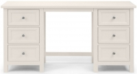 Julian Bowen Maine White 6 Drawer Double Pedestal Dressing Table