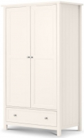 Julian Bowen Maine White 2 Door 1 Drawer Double Wardrobe