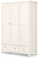Julian Bowen Maine White 3 Door 2 Drawer Triple Wardrobe