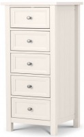 Julian Bowen Maine White 5 Drawer Tall Chest