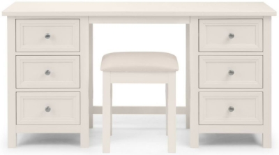 Julian Bowen Maine White 6 Drawer Dressing Table and Stool