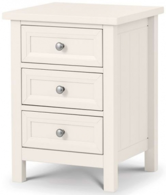 Julian Bowen Maine White 3 Drawer Bedside Cabinet