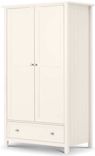 Julian Bowen Maine White 2 Door 1 Drawer Wardrobe