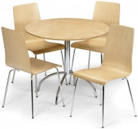 Julian Bowen Mandy Maple Round Dining Set with 4 Chairs - 90cm