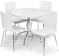 Julian Bowen Mandy Round Dining Table and 4 Chairs - White
