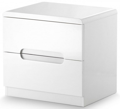 Julian Bowen Manhattan White High Gloss 2 Drawer Bedside Cabinet