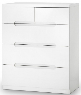 Julian Bowen Manhattan White High Gloss 3+2 Drawer Chest