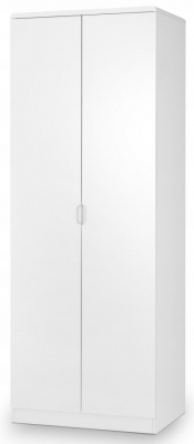 Julian Bowen Manhattan White High Gloss 2 Door Wardrobe