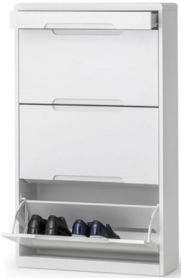 Julian Bowen Manhattan White High Gloss 3 Drawer Shoe Cabinet