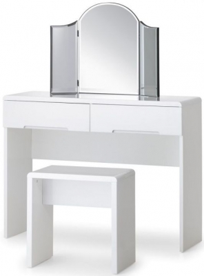 Julian Bowen Manhattan White High Gloss 2 Drawer Dressing Table