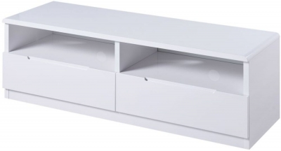Julian Bowen Manhattan White High Gloss 2 Drawer Media Unit