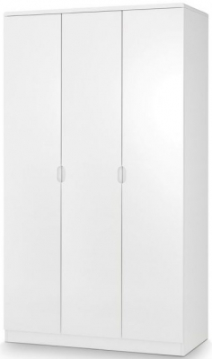 Julian Bowen Manhattan White High Gloss 3 Door Wardrobe