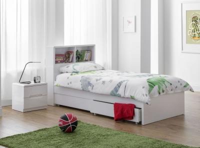 Julian Bowen Manhattan White High Gloss Bookcase Bed