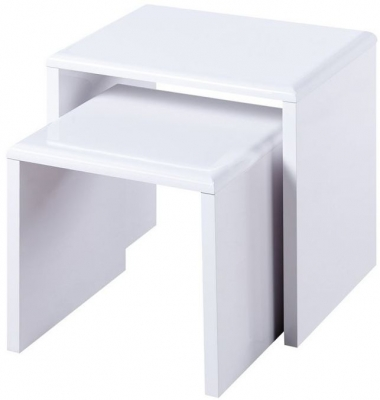 Julian Bowen Manhattan White High Gloss Nest of Tables