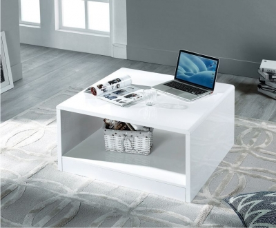 Julian Bowen Manhattan White High Gloss Square Coffee Table