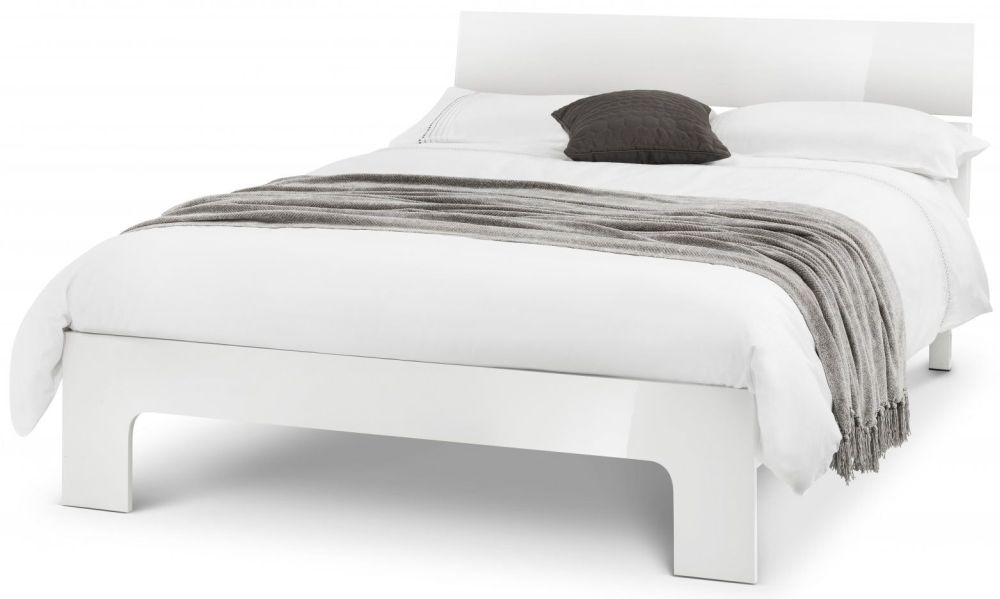 Julian Bowen Manhattan White High Gloss 4ft 6in Double Bed
