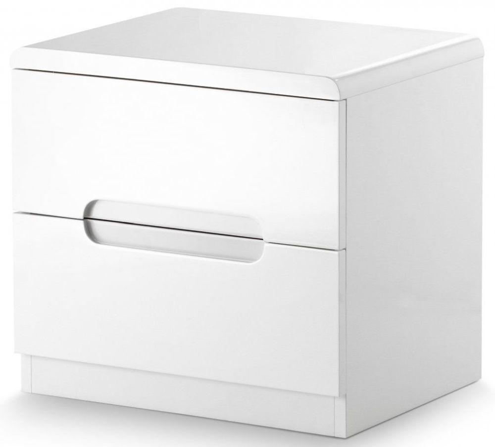 Julian Bowen Manhattan White High Gloss 2 Drawer Bedside Cabinet