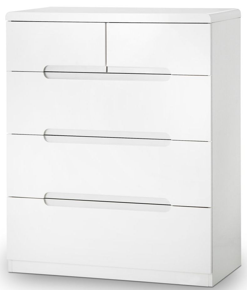 Julian Bowen Manhattan White High Gloss Chest of Drawer - 3+2 Drawer