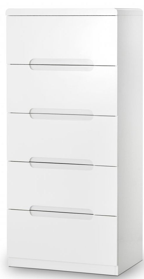 Julian Bowen Manhattan White High Gloss 5 Drawer Narrow Chest
