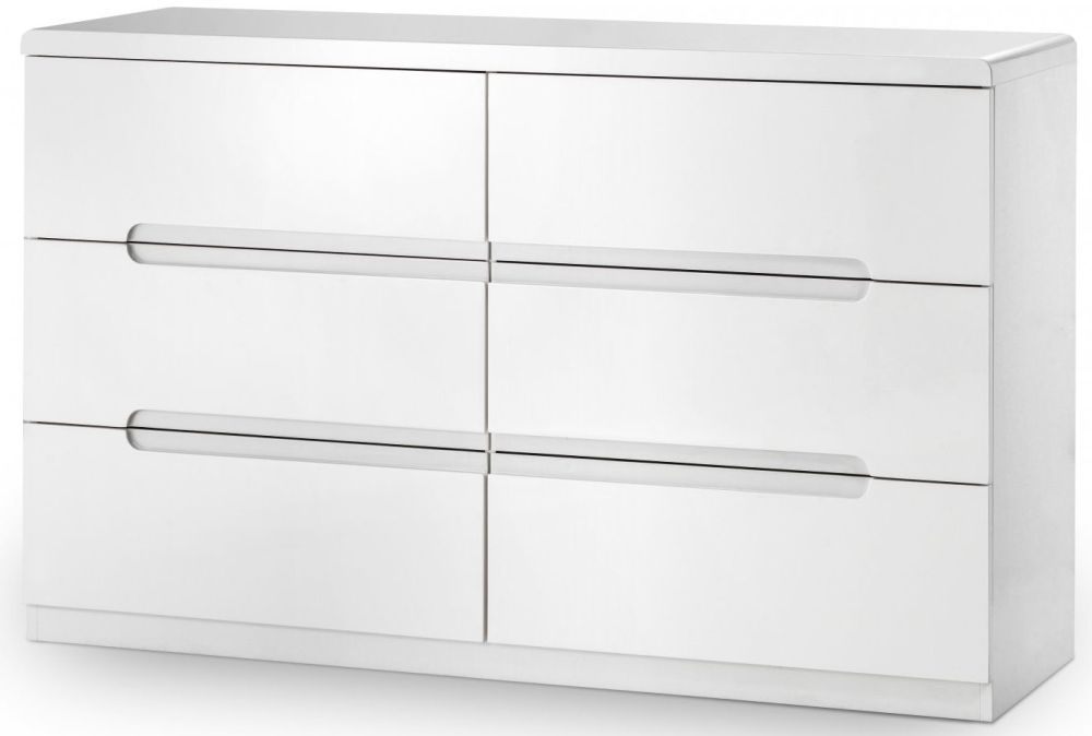 Julian Bowen Manhattan White High Gloss 6 Drawer Wide Chest