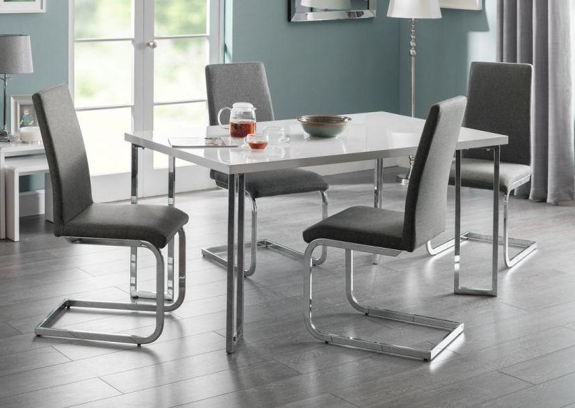 Julian Bowen Manhattan White Hight Gloss Rectangular Dining Table
