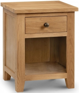 Julian Bowen Marlborough Oak Bedside Cabinet - 1 Drawer