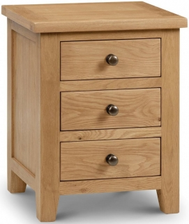 Julian Bowen Marlborough Oak Bedside Cabinet - 3 Drawers