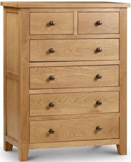 Julian Bowen Marlborough Oak Chest of Drawer - 4 + 2 Drawers