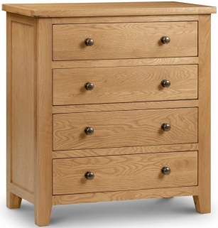 Julian Bowen Marlborough Oak Chest of Drawer - 4 Drawers